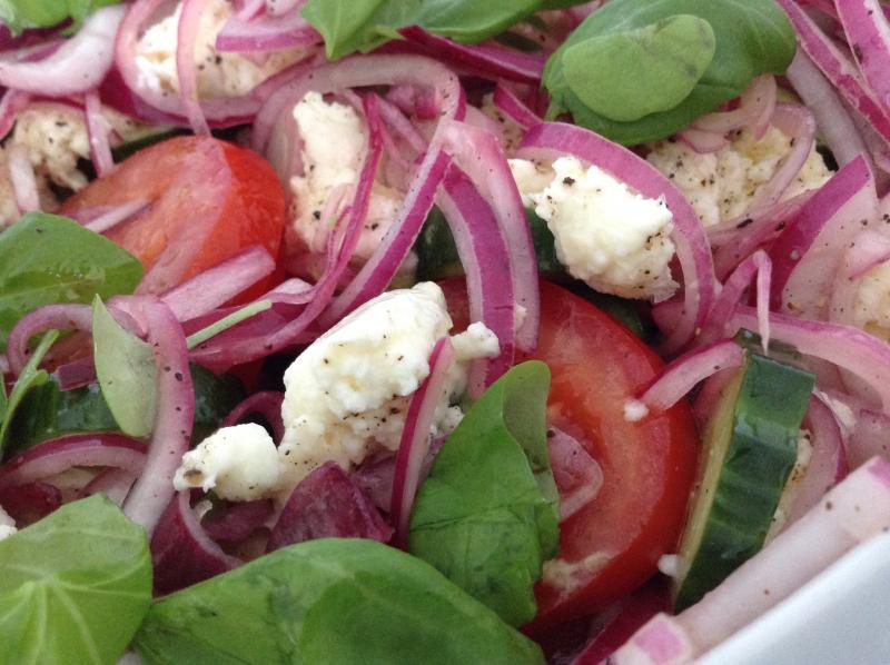 Tomat- og mozarellasalat med løkvinaigrette