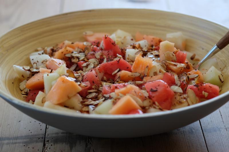 Melon med ristede mandelflak