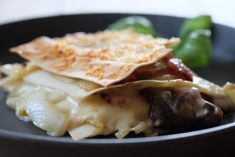 Lasagne med bacon og sopp