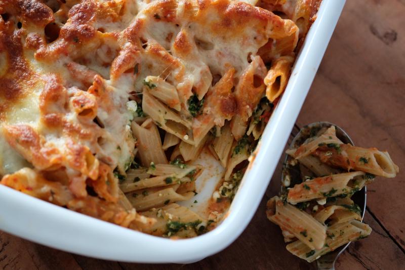 Pastaform med spinat og ost