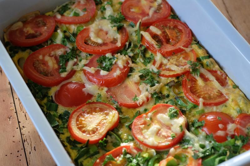 Grønnsaksomelett i ovn