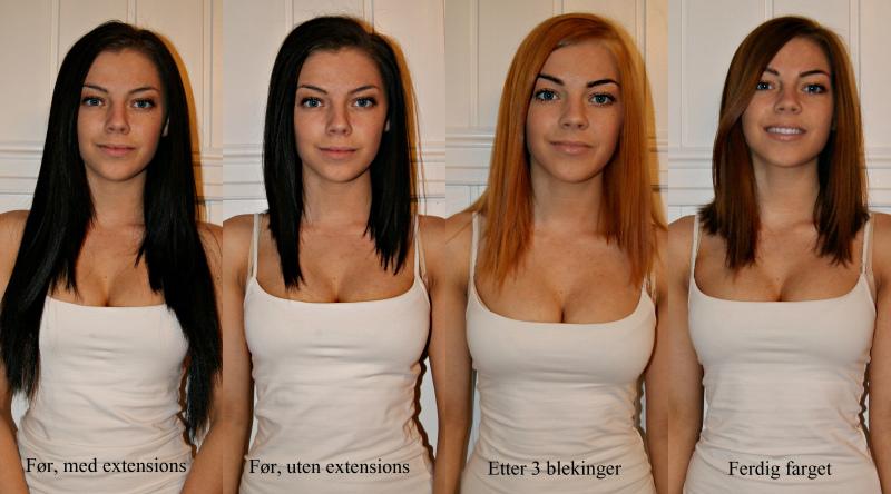 fra brunt til blondt hår