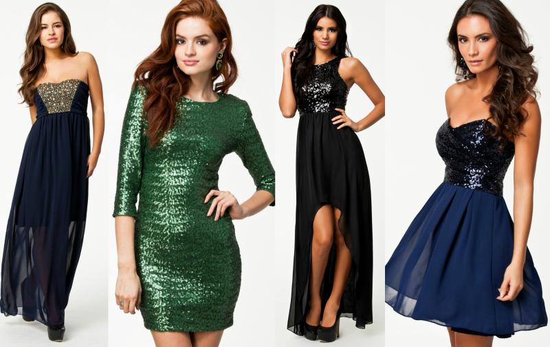 8a96c730 Blå kjole med gull paljetter 499,- // Mørkegrønn paljettkjole 599,- //  Svart paljettkjole 699,– // Blå og svart kjole 499,-